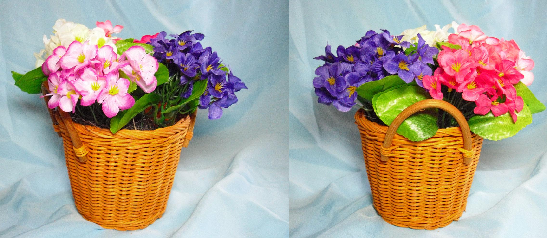 Корзинки с искусственными цветами фото
